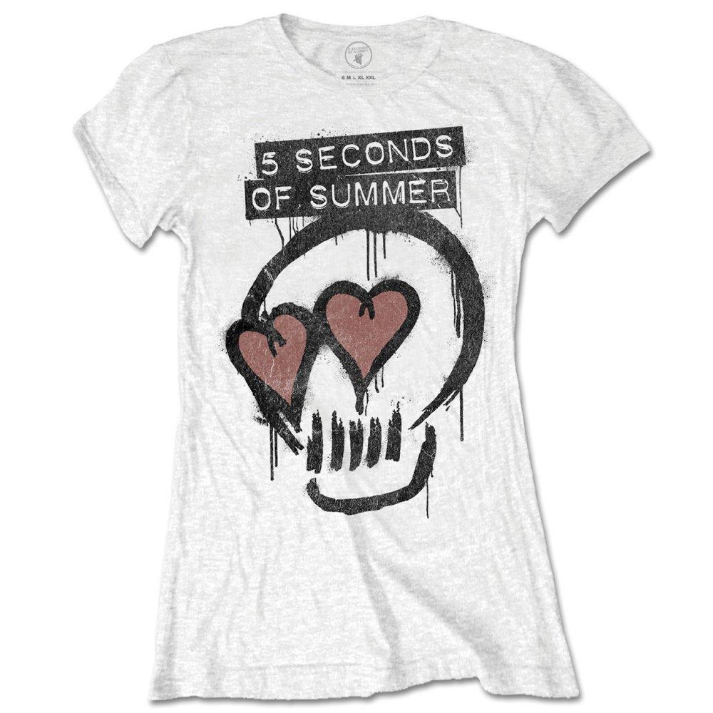 5 Seconds of Summer Ladies Tee: Heart Skull - 5 Seconds of Summer - Merchandise - Unlicensed - 5055979971214 -