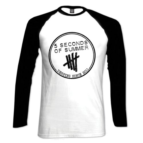 5 Seconds of Summer Ladies Raglan Tee: Derping Stamp - 5 Seconds of Summer - Merchandise -  - 5055295387843 -