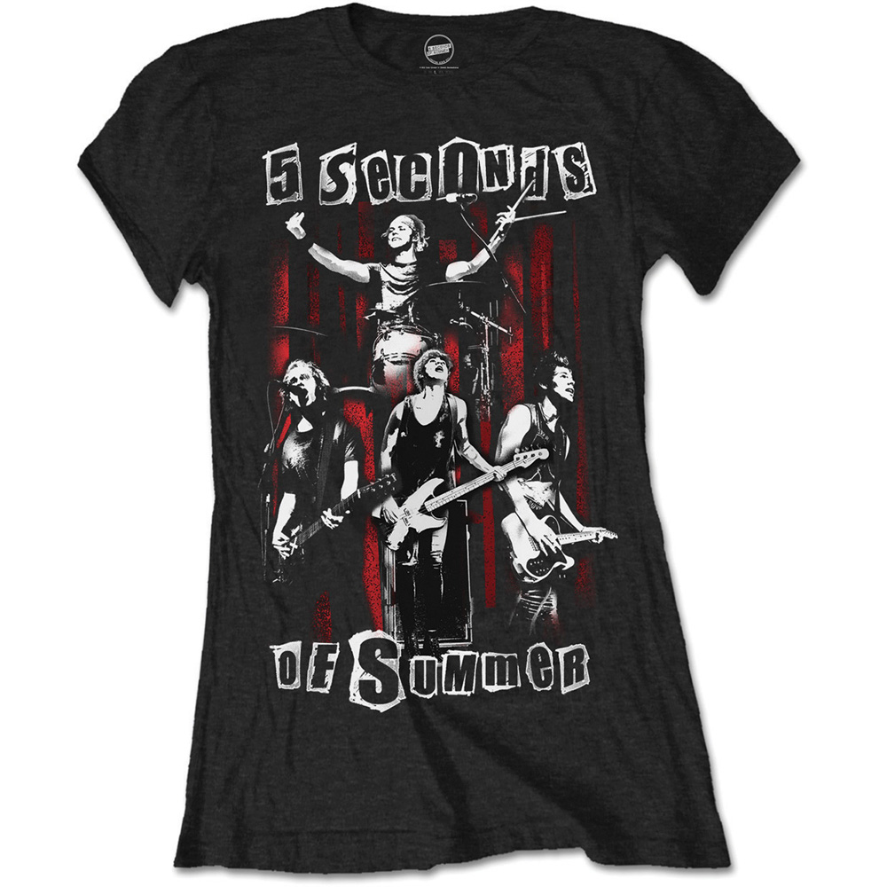 5 Seconds of Summer Ladies Fashion Tee: Spray Live (Skinny Fit) - 5 Seconds of Summer - Merchandise - Unlicensed - 5055979913924 -